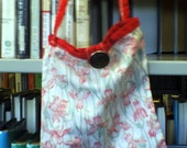 Red Flowery Bag with long strap