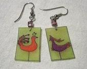 Paradise birds earrings -- red, purple, lime green
