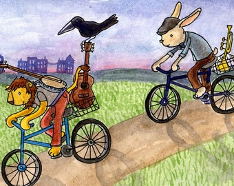 Riding Bikes in the Sunset. 5x7 matted print of an original watercolor illustration.