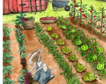 Summer. Wall Art. 5 x 7 print of a watercolor. Vegetable Garden. Farm Themed Art