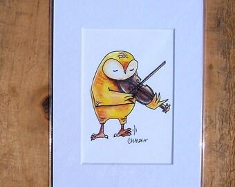 Fiddlin' Owl. 3x5 matted print of an original watercolor illustration.