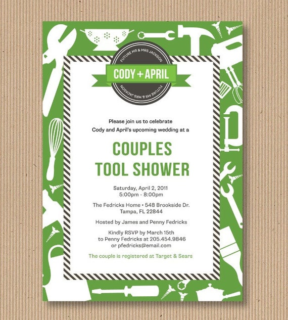 Items similar to around the house couples wedding shower for Man wedding shower invitations