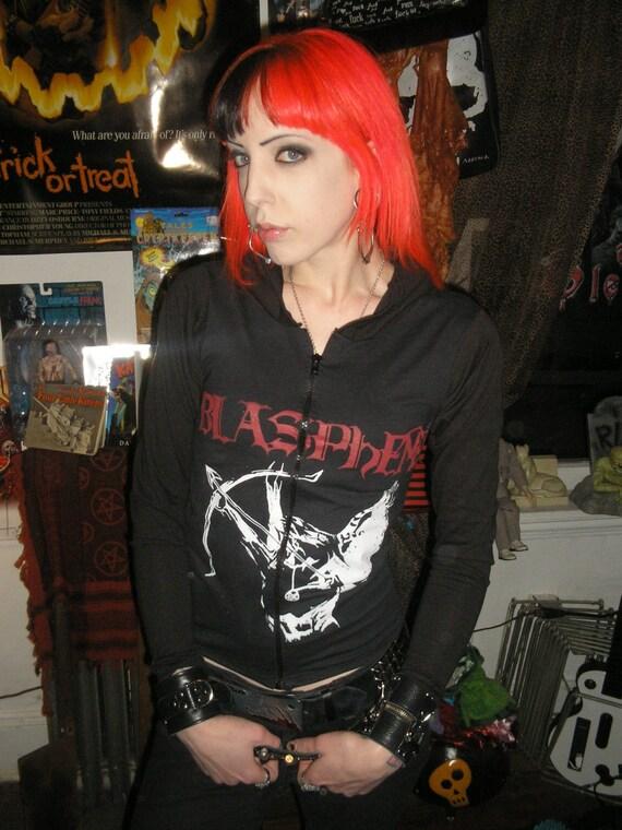 Small girls blasphemy hoodie custom heavy black metal - Small tin girl ...