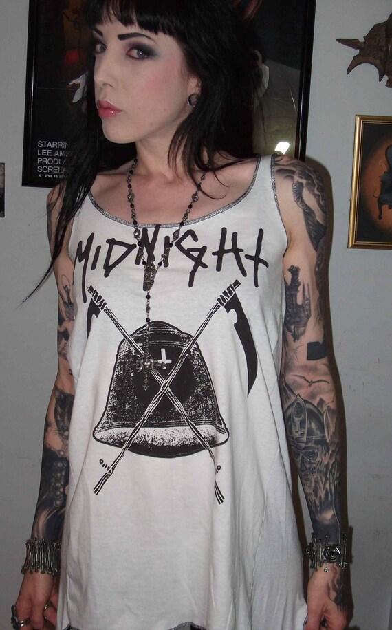 Midnight Girls Long Slub Tunic Tank Top Black Metal