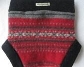 MEDIUM  Repurposed lambswool diaper soaker - red with snoflakes and black trim