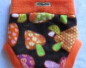 NB/SMALL Fleece diaper cover/soaker - 70's mushrooms
