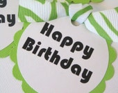 Handmade custom Lime Green Zebra Happy Birthday party favor gift tags by Chocolatetulipdesign