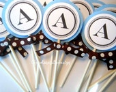 Initial Monogram Cupcake toppersCustom Baby Blue and Chocolate Brown or any color  by Chocolatetulipdesign