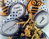 BUMBLE BEE Handmade Personalized Yellow and Black Polka dot Cupcake Toppers by Chocolatetulipdesign