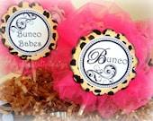 BUNCO Cupcake Toppers Pink and Cheetah Custom handmade Original Design by Chocolatetulipdesign