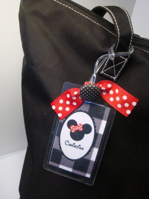 Handmade Personalized Red and Black Polka dot Plaid Custom MISS MOUSE Laminate Luggage Bag Tag by Chocolatetulipdesign
