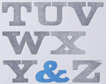 Alphabet Cadence (Blue), Letterpress Print