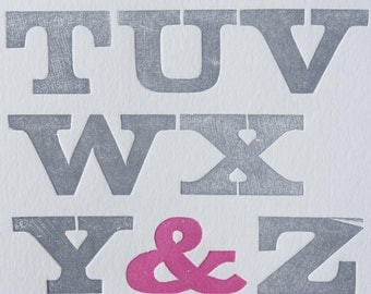Alphabet Cadence (Fuchsia), Letterpress Print