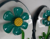 1964 Oval Resin Flower Wall Plaque Pair