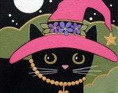 GOOD Witch Black CAT with Pink HAT Original Canvas Folk ART Painting