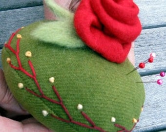 Rose Red Embroidered Wool Pincushion