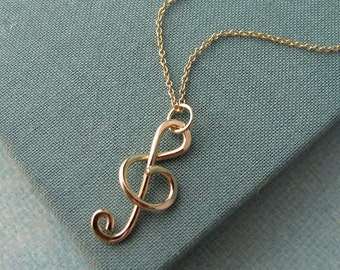 Treble Clef Pendant in 14k gold filled