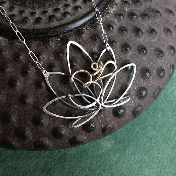 Entwined Lotus and Om Necklace