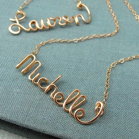 Custom 14k GF Script Name Necklace, personalized, bridal party, bridesmaid, graduation gift