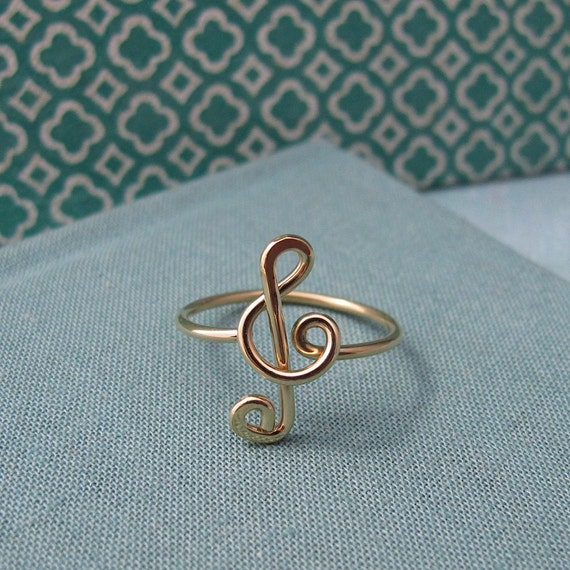 Treble Clef Ring in 14k gold filled