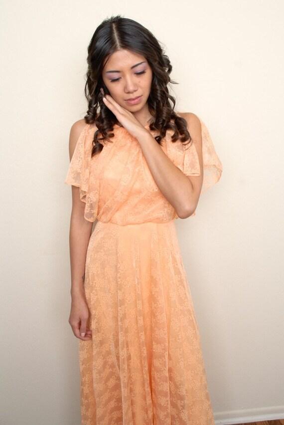 Vintage Orange Lace Gown