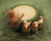 Reserved for Shana - Stacking wood bird family coasters -- Dual tone matcha -- No. 1