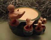 Reserved for Shana - Stacking wood bird family coasters -- Dual tone matcha -- No. 3