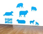 Fluffy Sheep and Lamb Wall Sticker Decals