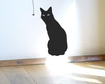 Black Cat Wall Sticker - Cat and the Spider, Charming vinyl wall decal
