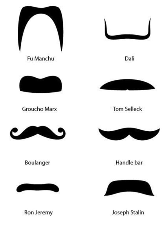 Comedy Fun Celebrity Moustaches for the mirror, wall decals (vinyl cut sticker)