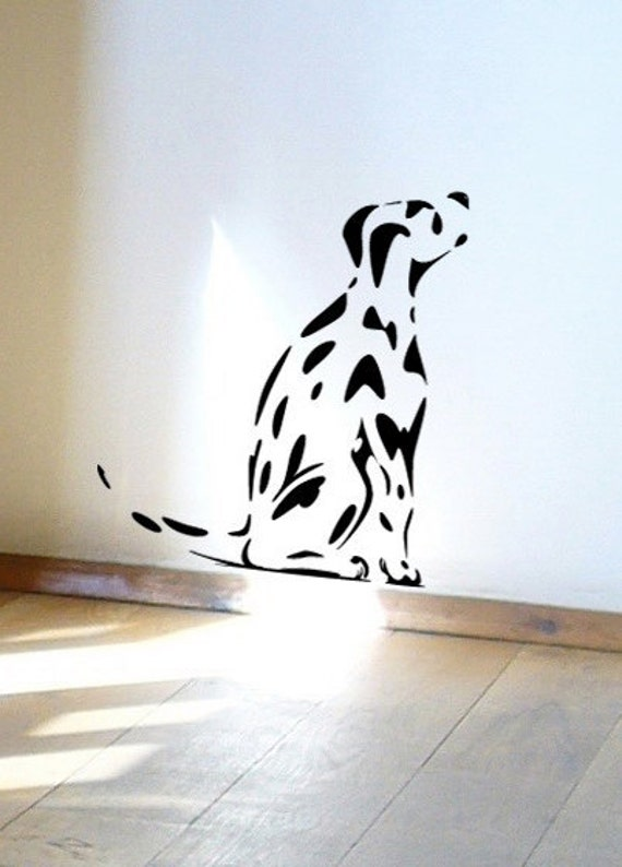 Dog Wall Sticker, Spotty Dalmatian puppy dog decal for dog lovers
