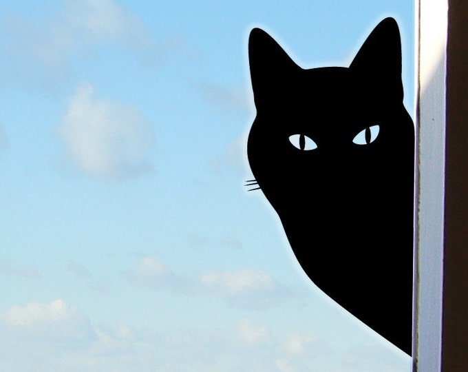 Peeping Tom Cat Sticker or Window Cat Decal