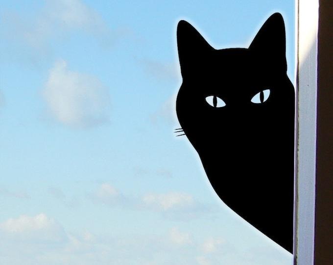 Peeping Tom Cat Sticker or Window Cat Decal