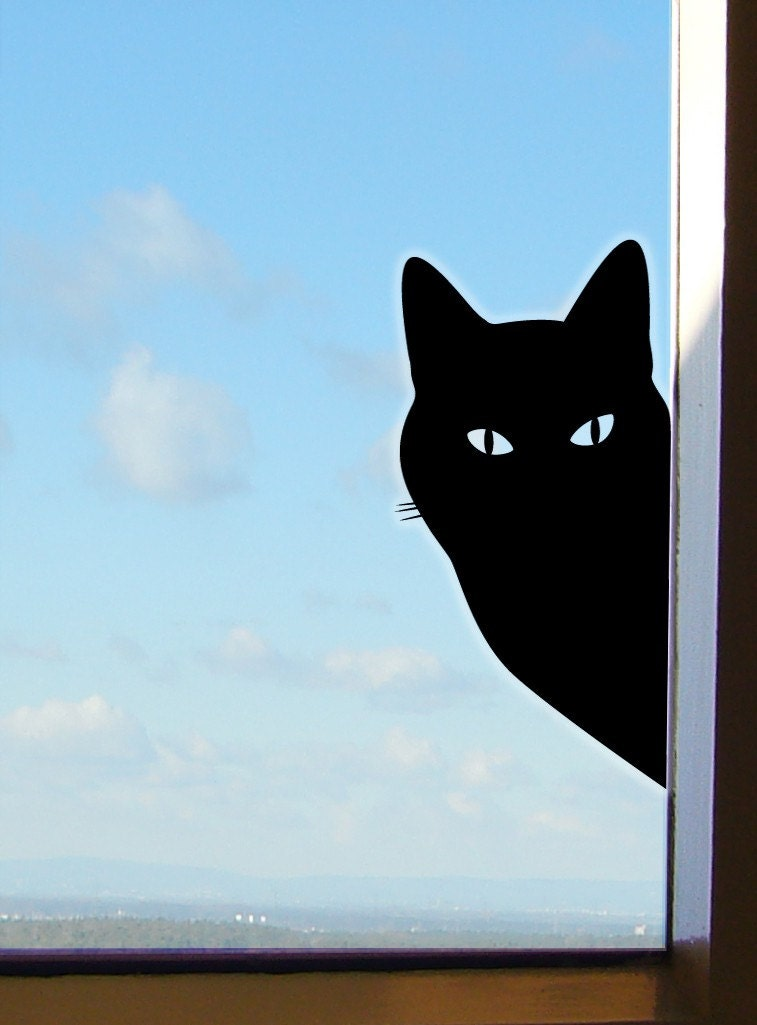 Peeping tom cat sticker or window cat decal for Autocollant mural