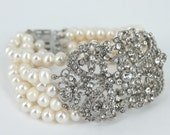 Multi Strand Freshwater Pearl Cuff Bracelet - Perfect for Weddings