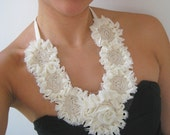 Chiffon, Tulle and Cotton Rose Bib Ribbon Necklace in Cream