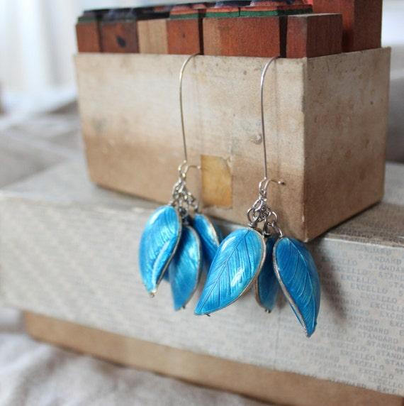 CLEARANCE SALE - Cloisonne Enamel Leaves Drop Earrings in Sea Blue