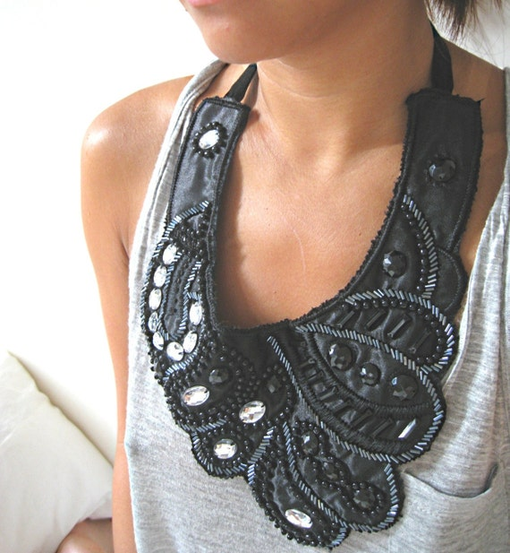 Deco - A Beaded and Bejewelled Ribbon Bib Necklace - OOAK - Reserved for jasper71