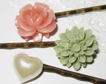 Flowers and heart bobby pin set of 3