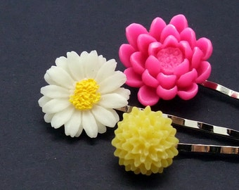 Lovely flower bobby pin set of 3 (S3-025)