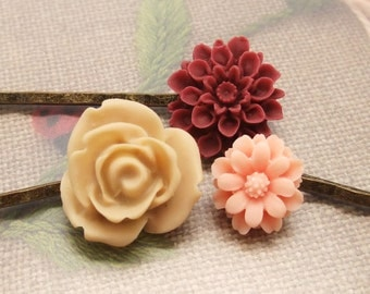 Lovely flower bobby pin set of 3 (S3-014)