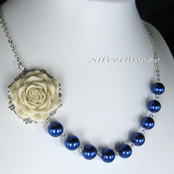 Rose pearl necklace, bridesmaids/wedding jewelry (Custom order - your choice of colour) WN2
