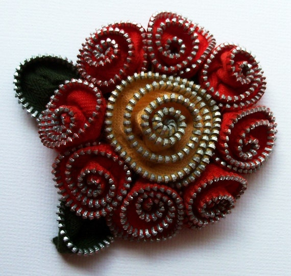 Red and Apricot Abstract Floral Brooch / Zipper Pin by ZipPinning - 2217