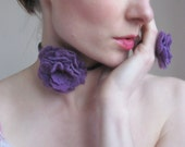 Purple Flower Necklace-Hand Felted