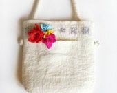 Hand Felted bag with Sequins Pure Natural Wool Hand felted Eco Gift