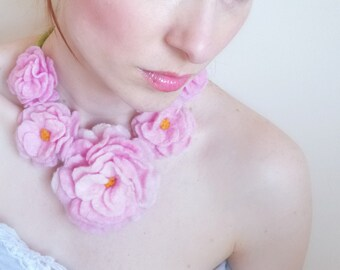 Pink Roses Necklace Hand felted From wool