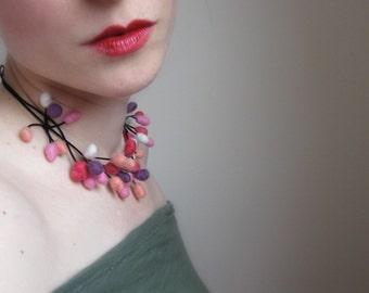 Felt Necklace, Hand Felted Necklace,Berry Necklace,