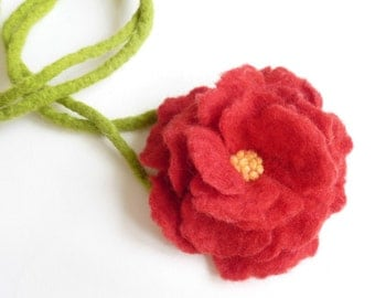 Delicate Red Flower Necklace Choker Hand Felted Eco gift