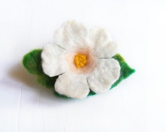 Felt Flower Brooch with Green Leaf Hand Felted From Wool Eco gift