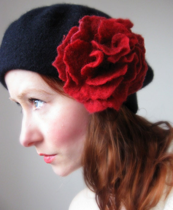 Adeline-Black French Style Beret- From Pure Wool-With Hand Felted Red Rose Brooch
